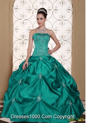 Taffeta Strapless Modest Quinceanera Dresses Gowns with Pick-ups and Embroidery