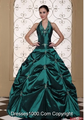 Halter Top Turquoise Quinceanera Gown Dresses with Embroidery and Beading