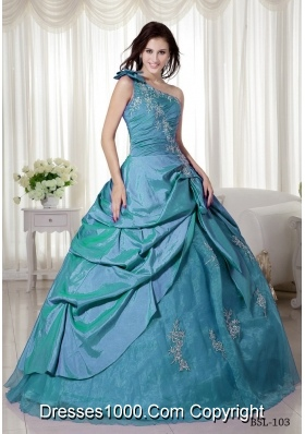 2014 Spring Puffy One Shoulder Quinceanera Dresses with Appliques