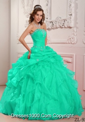 Apple Green Strapless Organza Turquoise Quinceanera Dresses with Beading and Ruffles