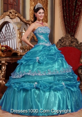 Discount Teal Ball Gown Appliques Quinceanera Dresses with Strapless