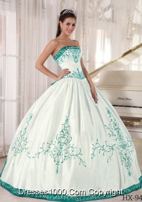 White And Turquoise Strapless Quinceanera Dress With Embroidery