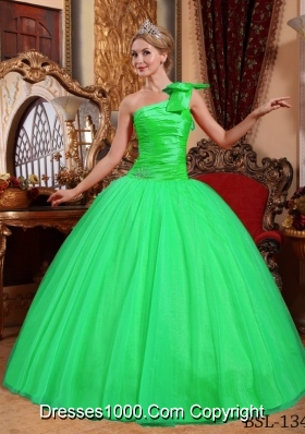 Simple Ball Gown One Shoulder Beading Sweet 15 Dresses