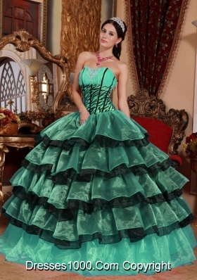 Sweetheart Turquoise and Black Quinceanera Dresses with Layers ...