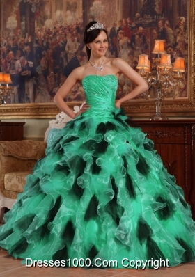 Turquoise and Black Strapless Organza Quinceanera Dresses with ...