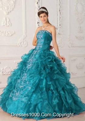 Turquoise Ball Gown Strapless Beading Long Quinceanera Dresses with Embroidery