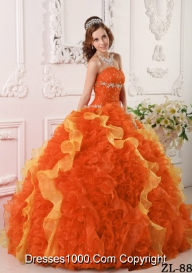 Brand New Orange Red Puffy Sweetheart Appliques and Beading for 2014 Quinceanera Dress