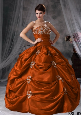 Exclusive Puffy Strapless Appliques for 2014 Quinceanera Dresses with Pick-ups