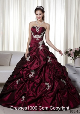 Princess Strapless Taffeta Burgundy Quinceanera Dress with Appliques
