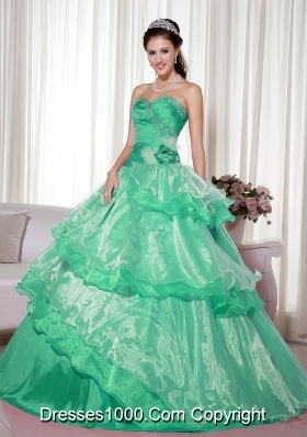 Sweetheart Turquoise Quinceanera Dresses with Hand Made Flower and Beading
