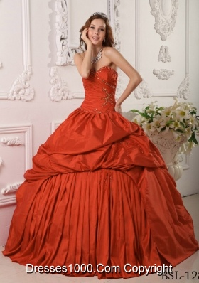 2014 Exclusive Sweetheart Beading Rust Red Quinceanera Dress with Pleats