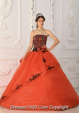 2014 Rust Red Puffy Strapless with Appliques and Hand Made Flower Quinceanera Dress