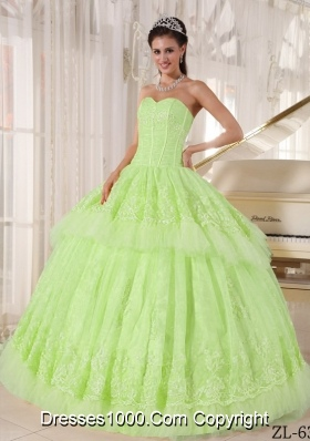 Beautiful Sweetheart Organza Sweet 16 Dresses with Appliques