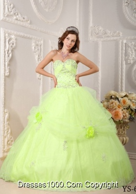 Beautiful Sweetheart Organza Sweet 16 Dresses with Beading and Flowers