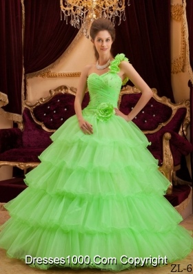 Lemon Green Princess One Shoulder Sweet Sixteen Dresses with Flowers and Layers