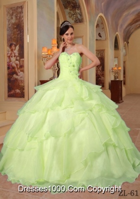 Lemon Green Sweetheart Organza Sweet Sixteen Dresses with Beading and Layers