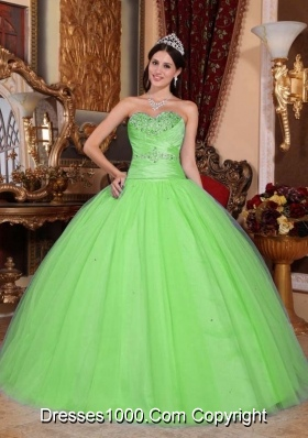 New Style Lemon Green Sweetheart Sweet 15 Dresses with Beading