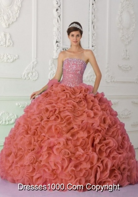 Perfect Rust Red Strapless Organza Beading and Ruffles for 2014 Quinceanera Dress