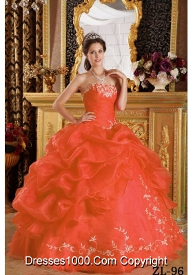 Petty Orange Red Puffy Strapless Embroidery for 2014 Quinceanera Dress