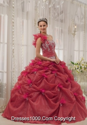 Petty Red Puffy One-shoulder Appliques for 2014 Quinceanera Dress with Pick-ups
