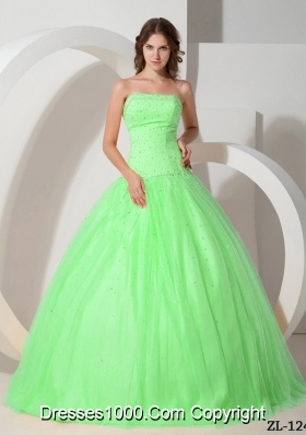 Popular Princess Strapless Quinceanera Gowns with Beading