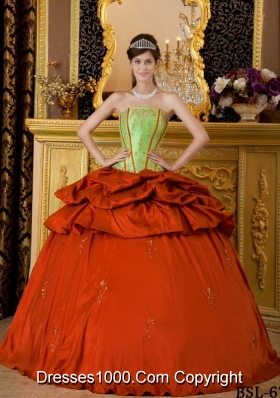 Pretty Orange Red Puffy Strapless Appliques Quinceanera Dresses for 2014