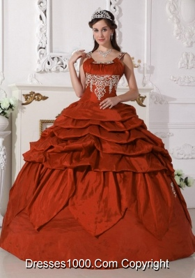 Pretty Rust Red Puffy Scoop with Pick-ups and Beading for 2014 Quinceanera Dress