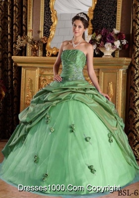 Princess Strapless Beading and Flowers Dresses For a Quinceanera