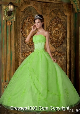 Princess Strapless Organza 2014 Quinceanera Dresses with Appliques
