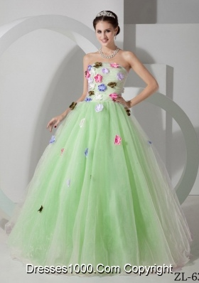 Princess Strapless Organza Sweet 15 Dresses with Hand Made Flowers