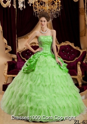 Princess Strapless Organza Sweet 16 Dresses with Layers and Appliques