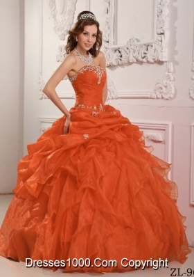 Sweet Orange Red Puffy Strapless Organza Beading And Ruffles for 2014 Quinceanera Gowns