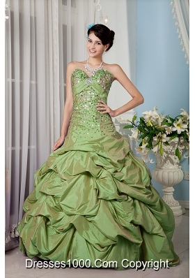 A-line Sweetheart Taffeta Sweet Sixteen Dresses with Beading and Pick-ups
