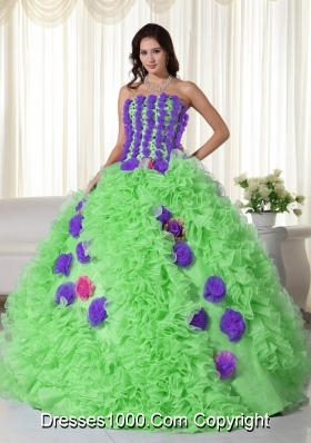 Green Strapless Organza Quinceanera Gowns with Flowers and Ruffles
