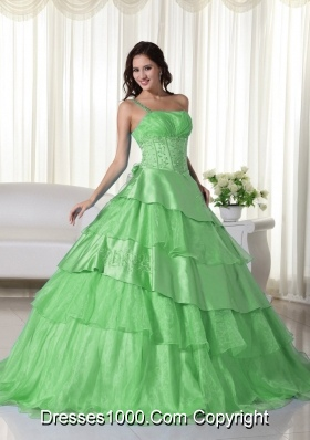 Lemon Green One Shoulder Organza Sweet 15 Dresses with Beading and Layers