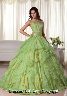 Lemon Green Sweetheart Organza Sweet 16 Dresses with Appliques and Ruffles