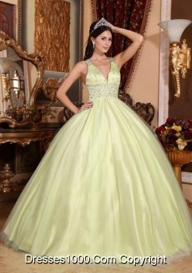 Pretty V-neck Quinceanera Gown Dress with Beading