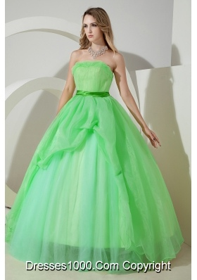 Princess Strapless Organza Discount Quinceneara Dresses On Sale