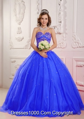 2014 Quinceanera Dress in Blue Princess Sweetheart with Beading