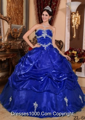2014 Royal Blue Puffy Sweetheart Decorate for Appliques Quinceanera Dresses
