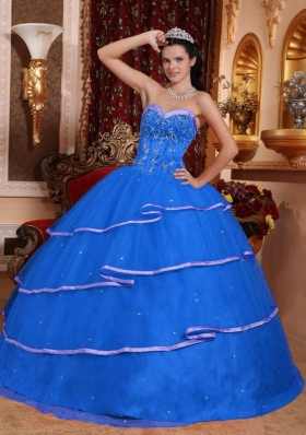 Discount Blue Sweetheart 2014 Beading Quinceanera Dresses