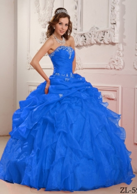 Puffy Strapless with Beading and Ruffles Quinceanera Dress for 2014
