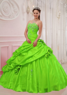 Puffy Sweetheart Appliques Quinceanera Dresses in Spring Green