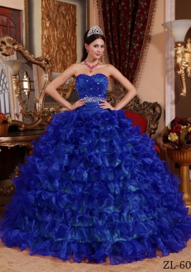 Royal Blue Puffy Sweetheart 2014 Beading Quinceanera Dress with Ruffles