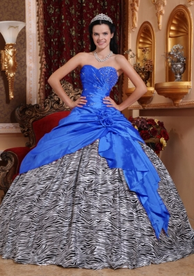 2014 Blue Puffy Sweetheart Beading Quinceanera Dresses