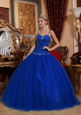 2014 Royal Blue Puffy Spaghetti Straps Beading Quinceanera Dress