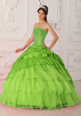 Ball Gown Strapless Beading Spring Green Quinceanera Dresses