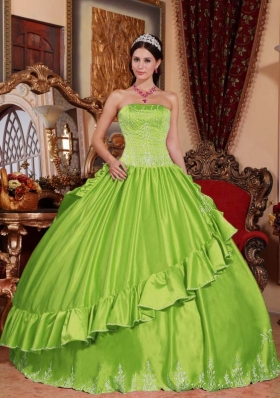Elegant Puffy Strapless Quinceanera Dresses with Embroidery