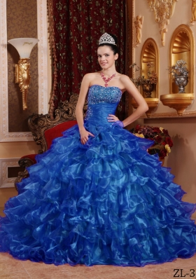 Fashionable Strapless 2014 Beading Quinceanera Gowns with Ruffles