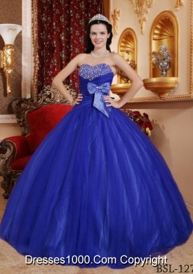 Lovely Blue Puffy Sweetheart 2014 Beading Quinceanera Dresses